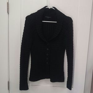 Black sweater jacket knit medium small cardigan